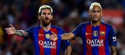 Messi y Neymar, durante el partido de Liga frente al Alavés. Foto: Twitter.