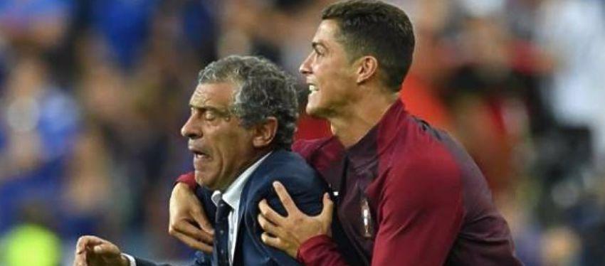 Cristiano celebra junto a Fernando Santos la victoria en la final de la Eurocopa. Foto: Goal.