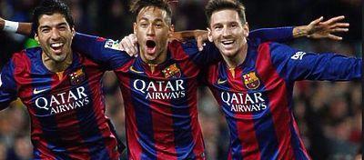 Tridente azulgrana durante la celebración de un gol - Foto: Twitter