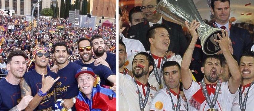 Barça y Sevilla celeran el título de Liga y Europa League. Foto: Sevilla FC y FC Barcelona.
