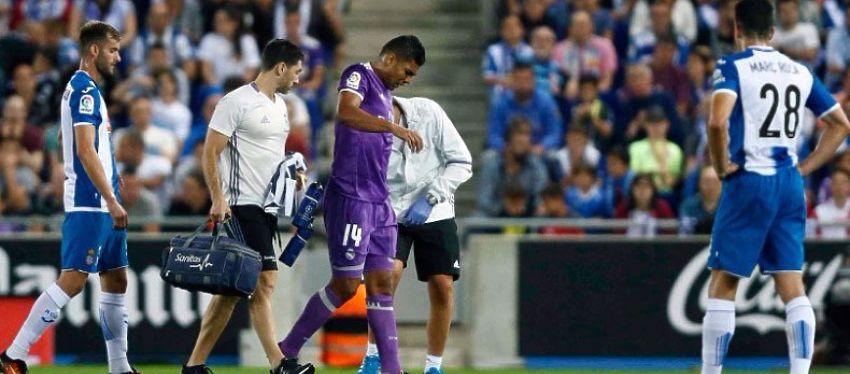 Casemiro se retiró lesionado en el choque frente el Espanyol y ayer fue baja ante el Villarreal. Foto: Real Madrid.