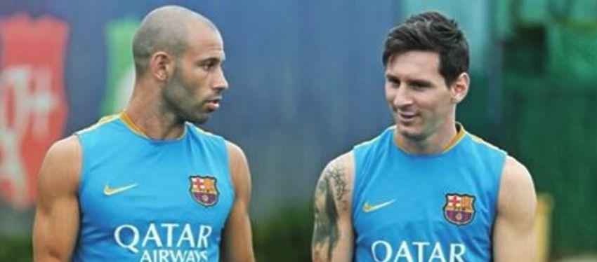 Mascherano y Messi intercambian impresiones en un entrenamiento del Barça. Foto: Instagram.