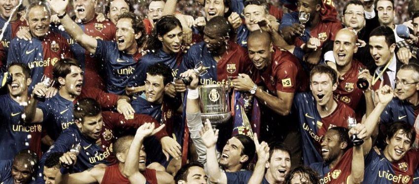 El Barça celebra la Copa del Rey de la temporada 2008-09. Foto: Twitter.