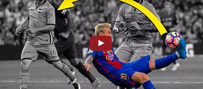 Messi inventando la chilena-asistencia   Foto: Youtube