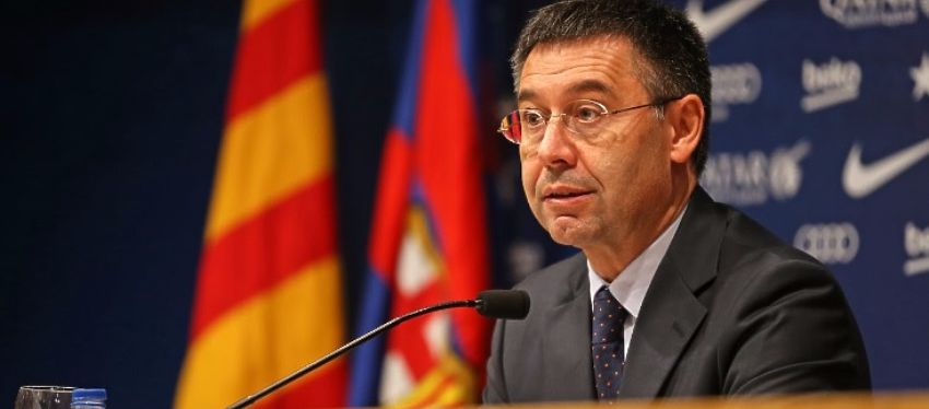Josep Maria Bartomeu en rueda de prensa. Foto: Youtube.