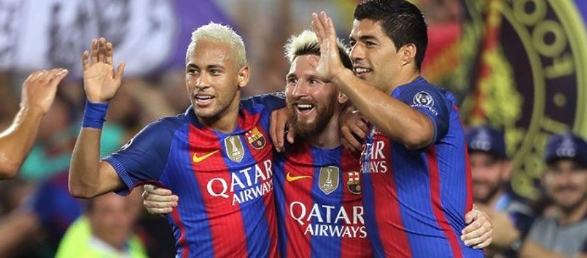 Neymar, Messi y Suárez volvieron a hacer las delicias de los aficionados culés. Foto: Twitter.