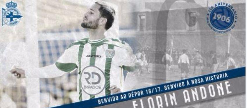 Mensajen en Twitter del Deportivo de la Coruña dando la bienvenida a Florin Andone