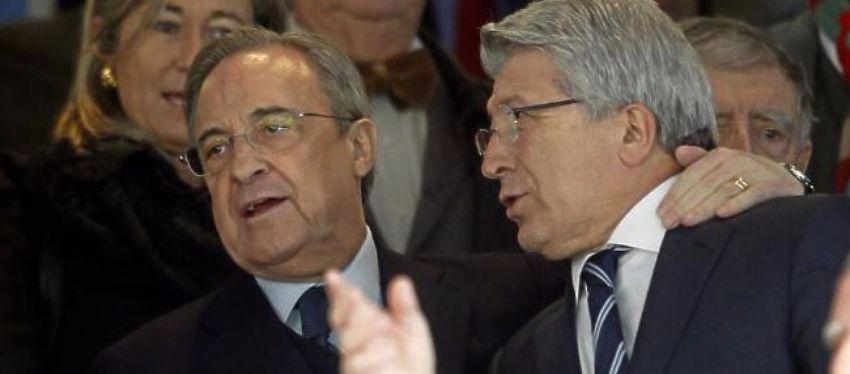 Florentino Pérez y Enrique Cerezo, juntos en el palco del Bernabéu. Foto: Twitter.