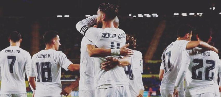 La plantilla del Real Madrid celebrando un gol esta temporada. Foto: Instagram.