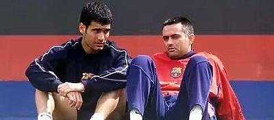 Guardiola y Mourinho, durante su etapa en el FC Barcelona. Foto: Twitter.