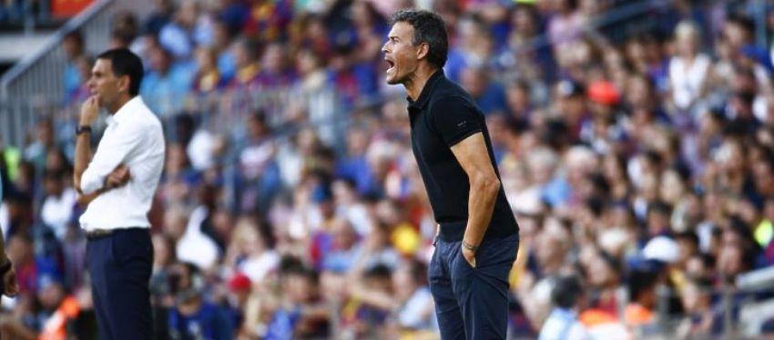 Luis Enrique dirige a los suyos en el primer partido de Liga. Foto: La Vanguardia.