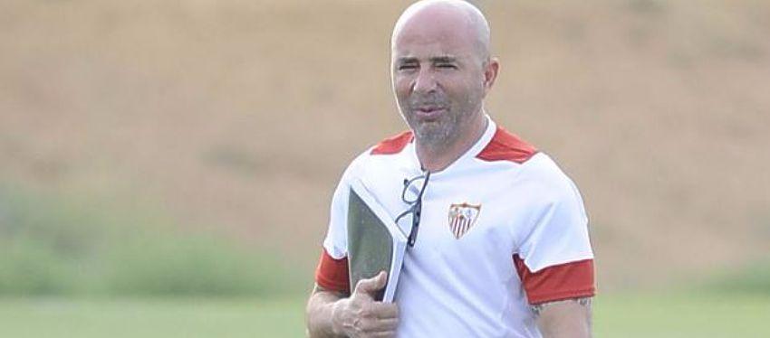 Sampaoli durante una sesión de entrenamiento con el Sevilla FC