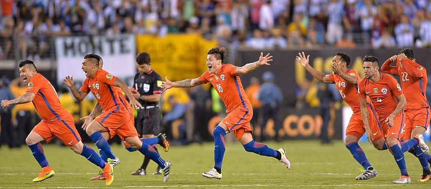 Chile celebra su segunda Copa América consecutiva tras el penalti decisivo de Silva. Foto: @copaamericacentenario.