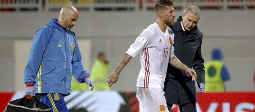 Sergio Ramos, con un esguince en la rodilla, ha sido una de las últimas bajas del Madrid. Foto: Twitter.
