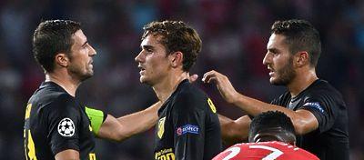 Gabi, Griezmann y Koke, en el partido ante el PSV. Foto: Twitter.