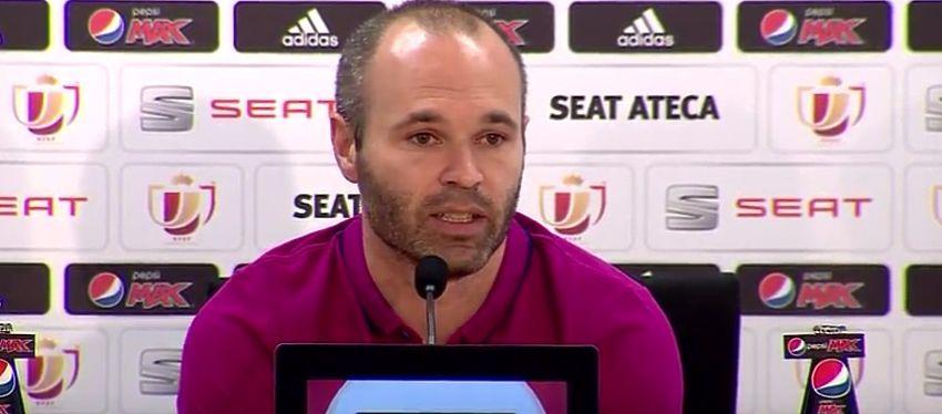 Iniesta en la rueda de prensa previa a la final de la Copa del Rey. Foto: Youtube, FC Barcelona.