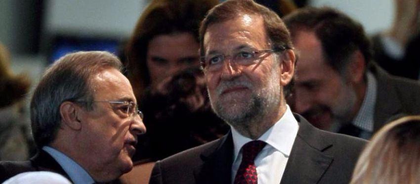 Florentino Pérez junto a Mariano Rajoy en el palco del Bernabéu. Foto: Twitter.