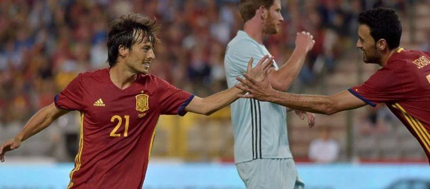 Silva celebra uno de sus goles frente a Bélgica. Foto: Twitter.