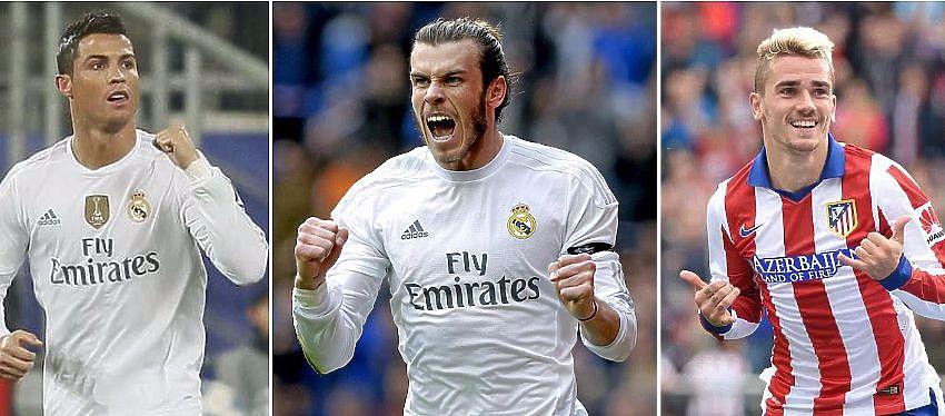 Cristiano Ronaldo , Gareth Bale y Antoine Griezmann