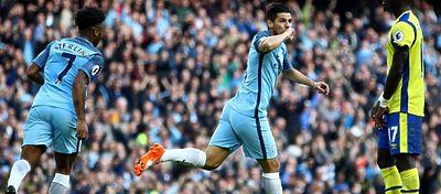 Nolito celebra un gol con el Manchester City. Foto: Twitter.