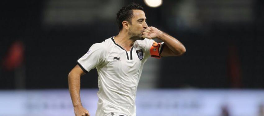 Xavi fue uno de los protagonistas en el derbi de la liga catarí. Foto: Twitter.