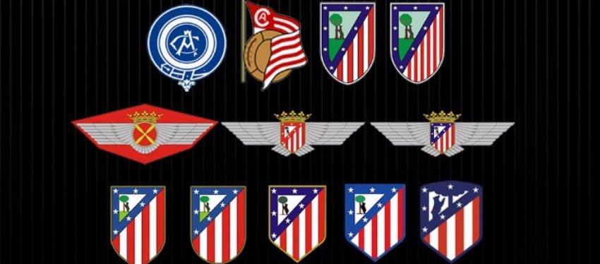 La evolución de los diferentes escudos del Atlético de Madrid. Foto: Twitter.