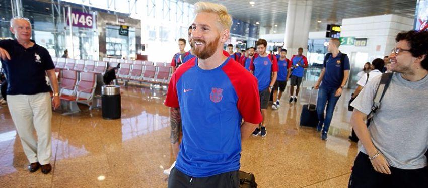 Messi fue el protagonista de la expedición culé con su nuevo cambio de look. Foto: FC Barcelona.