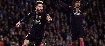 Messi celebra el 0-1 ante el City. Foto: @Ligadecampeones.