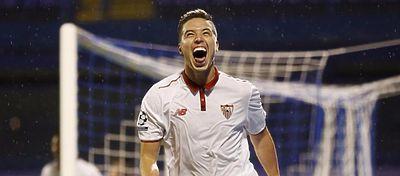 Nasri celebra el gol de la victoria del Sevilla ante el Dinamo de Zagreb. Foto: Mundo Deportivo.