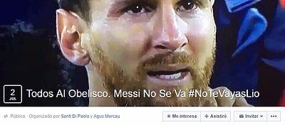 La página de Facebook en la que más de 66.000 aficionados argentinos han confirmado su apoyo a Messi. Foto: Facebook.