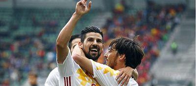 Nolito celebra un gol en uno de los amistosos de preparación para la Eurocopa. Foto: Telecinco.