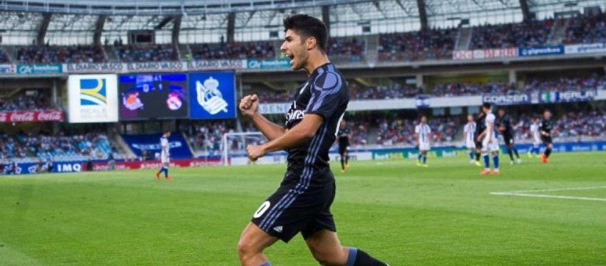 Asensio celebra el 0-2 del Real Madrid ante la Real Sociedad. Foto: Twitter.