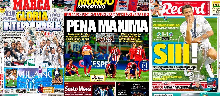 Los principales diarios deportivos se rindieron a la undécima Champions del Madrid. Foto: Kiosko.net.