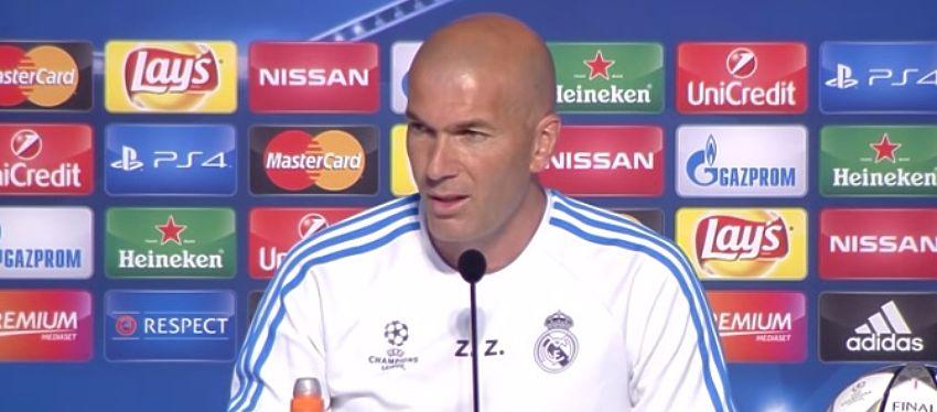 Zidane compareció en la rueda de prensa a la finalísima de Milán. Foto: Youtube. Real Madrid TV.