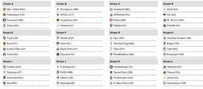 Los doce grupos de la Europa League. Foto: Twitter.