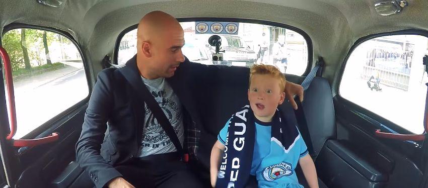Esta fue la reacción del pequeño Braydon al encontrarse con Pep Guardiola en un taxi. Foto: Youtube.