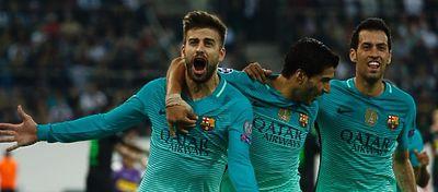 Gerard Piqué materializó la remontada del Barça ante el Gladbach. Foto: Twitter.