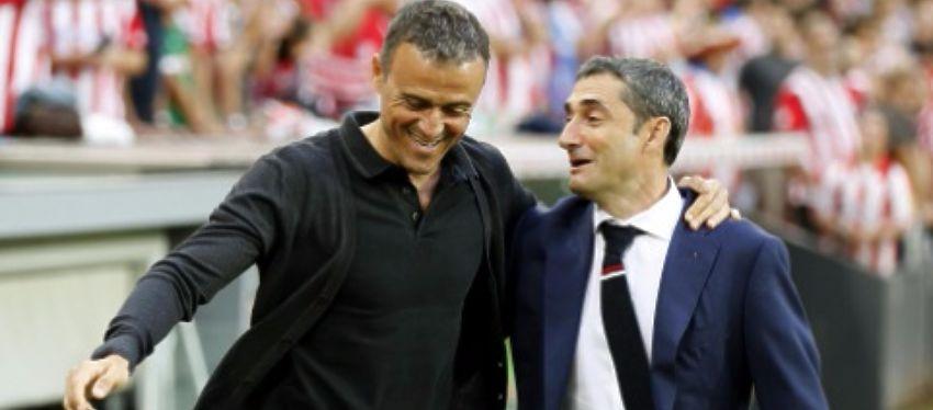 Luis Enrique saluda a Ernesto Valverde minutos antes del encuentro. Foto: Twitter.