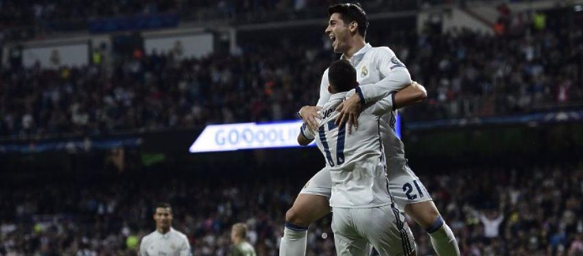 Morata y Lucas Vázquez celebran el 5-1 del Real Madrid. Foto: @realmadridcol.