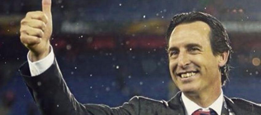 Unai Emery celebra la Europa League con el Sevilla. Foto: Instagram.