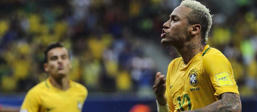 Neymar celebra con gol con la selección de Brasil. Foto: Twitter.