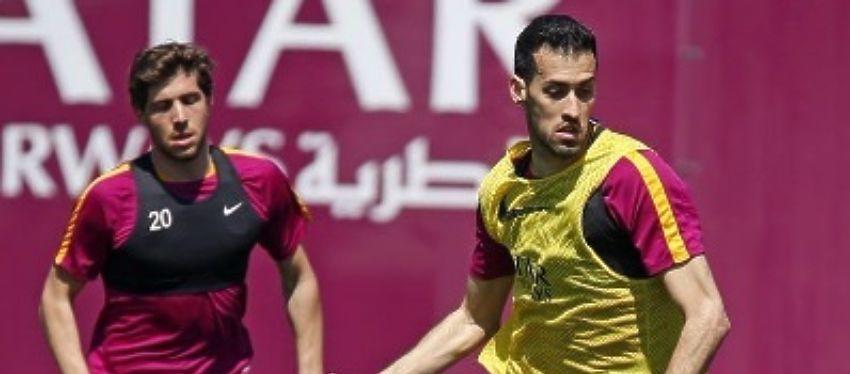 Sergi Roberto y Busquets, en un entrenamiento con el Barça. Foto: Twitter.