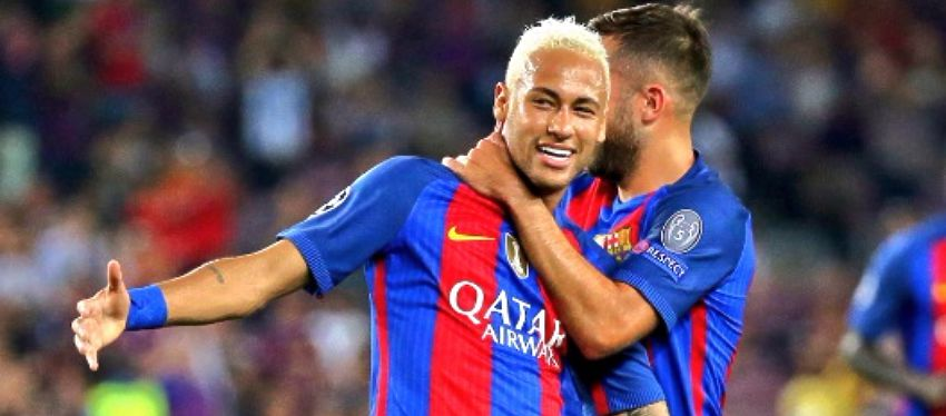 Neymar celebra un gol junto a Jordi Alba. Foto: @sportags.