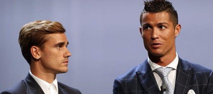 Griezmann y Cristiano volverán a coincidir el 13 de diciembre en la gala del Balón de Oro. Foto: Twitter.