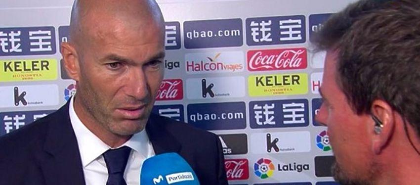 Zidane habló para los micrófonos de Movistar Plus tras la victoria del Real Madrid. Foto: Twitter.