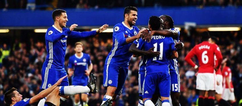 El Chelsea celebra el 1-0 ante el Manchester United. Foto: @invictossomos.