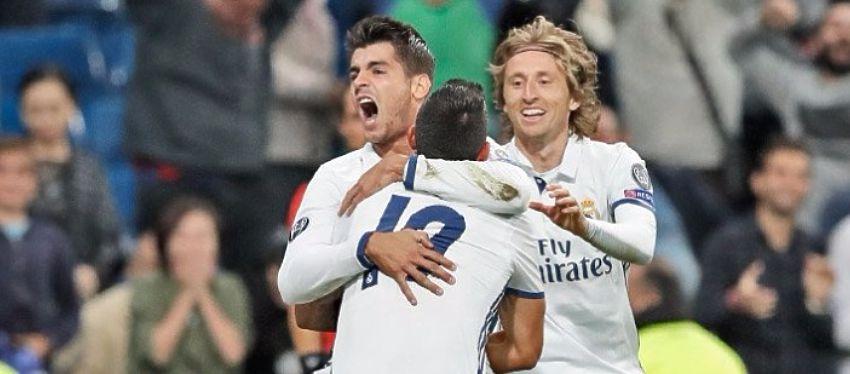 Morata celebra el 2-1 definitivo ante el Sporting de Portugal. Foto: Twitter.