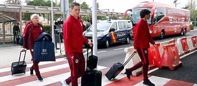 La expedición atlética, antes de partir hacia Rusia. Foto: Atlético de Madrid.