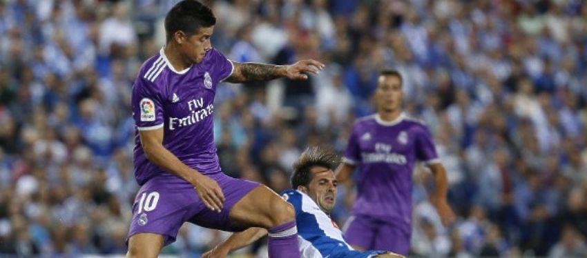 James volvió al once titular de Zidane y lo hizo con un gran gol frente al Espanyol. Foto: @lafm.