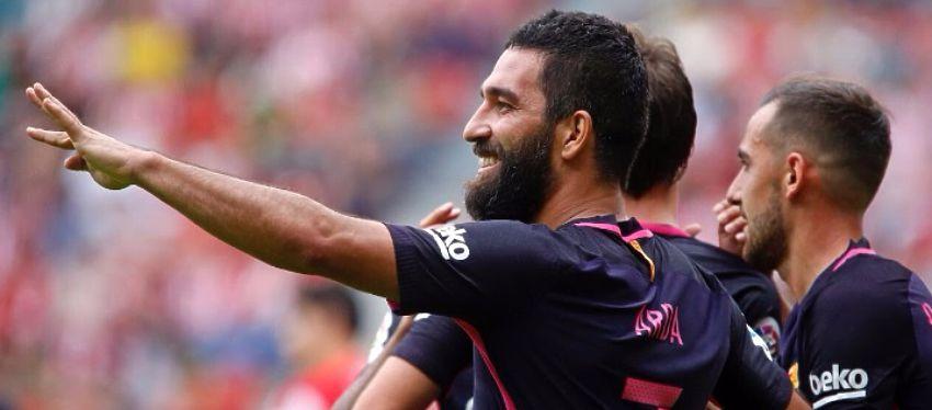 Arda celebra su gol ante el Sporting de Gijón en Liga. Foto: Twitter.